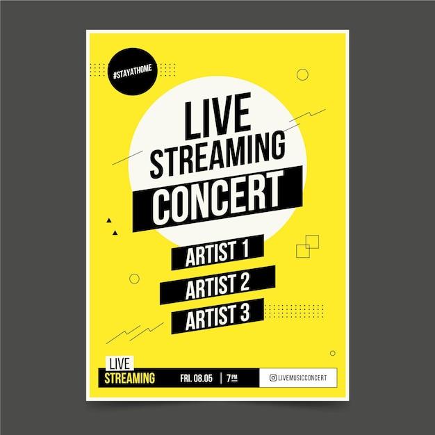Live streaming muziek concertposter Gratis Vector