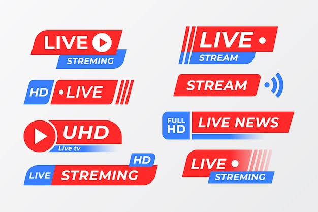 Live streams nieuws banner collectie concept Gratis Vector