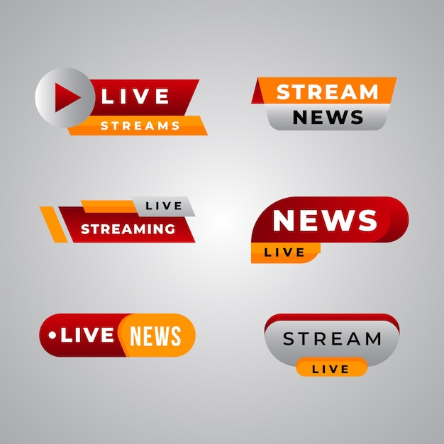 Live streams nieuws banner collectie sjabloon Gratis Vector