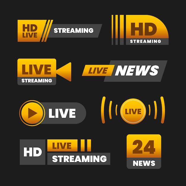 Live streams nieuws banners ontwerpen Gratis Vector