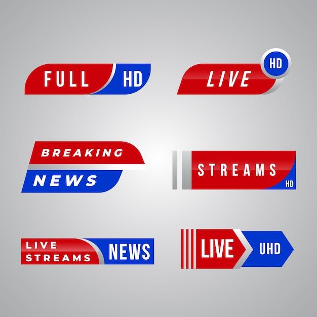 Live streams nieuwsbanner collectie thema Gratis Vector