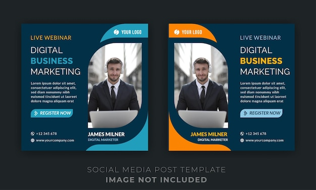 Live webinar digitale zakelijke marketing social media post Premium Vector