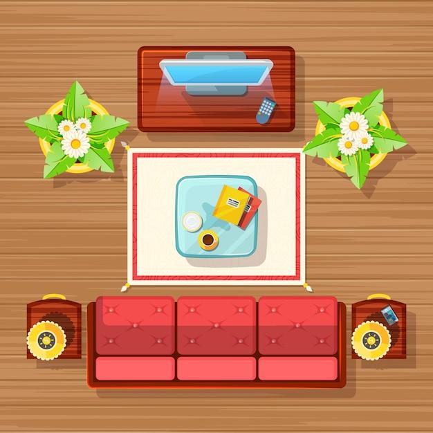 Living room design Gratis Vector