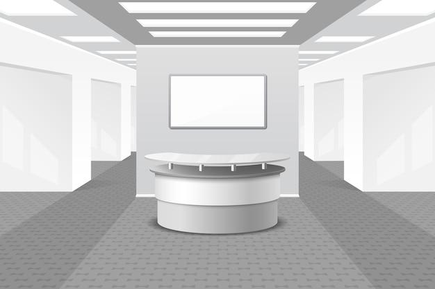 Lobby of receptie interieur. kantoor en meubilair, bedrijfshal, balie in hotel, Gratis Vector