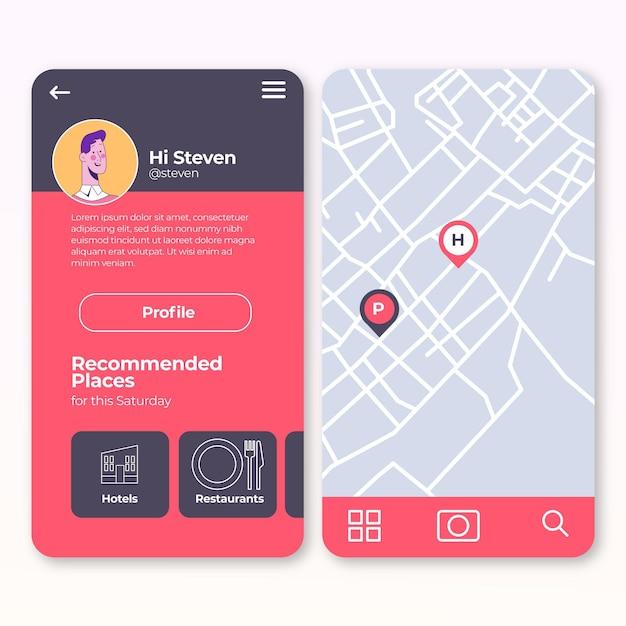 Locatie app concept Gratis Vector