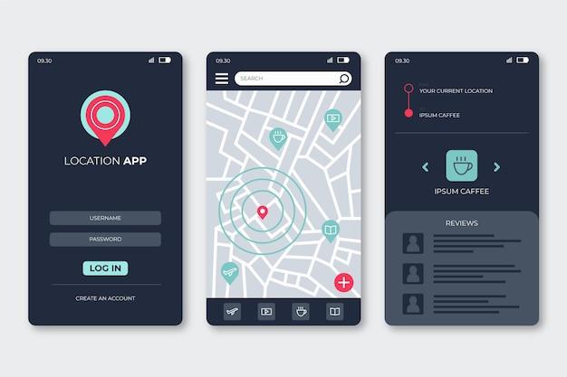Locatie app-interface concept Gratis Vector