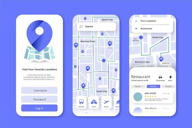 Locatie app-interface Gratis Vector