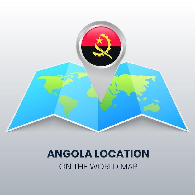 Locatiepictogram van angola op de wereldkaart, ronde pin-pictogram van angola Premium Vector