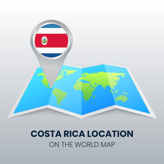 Locatiepictogram van costa rica op de wereldkaart Premium Vector