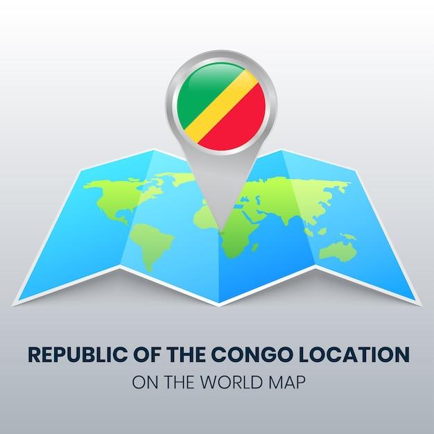 Locatiepictogram van de republiek congo op de wereldkaart ronde pin-pictogram van de republiek congo Premium Vector