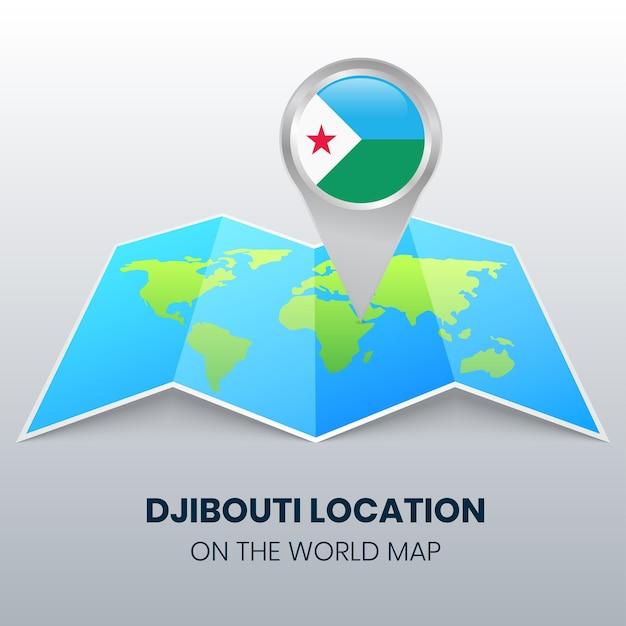 Locatiepictogram van djibouti op de wereldkaart Premium Vector