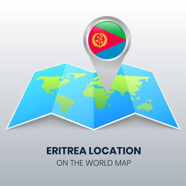 Locatiepictogram van eritrea op de wereldkaart ronde pin-pictogram van eritrea Premium Vector