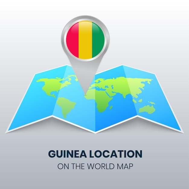 Locatiepictogram van guinee op de wereldkaart, ronde pin-pictogram van guinee Premium Vector