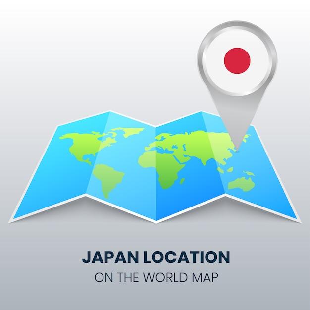 Locatiepictogram van japan op de wereldkaart, ronde pin pictogram van japan Premium Vector