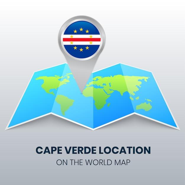 Locatiepictogram van kaapverdië op de wereldkaart ronde speldpictogram van kaapverdië Premium Vector
