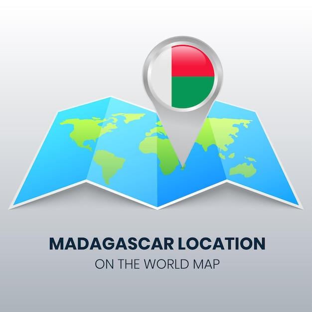 Locatiepictogram van madagaskar op de wereldkaart, ronde speldpictogram van madagascar Premium Vector