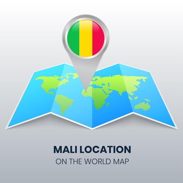 Locatiepictogram van mali op de wereldkaart, ronde speldpictogram van mali Premium Vector