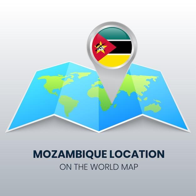 Locatiepictogram van mozambique op de wereldkaart ronde pin icoon van mozambique Premium Vector