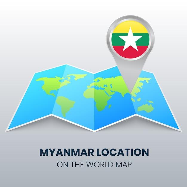 Locatiepictogram van myanmar op de wereldkaart, ronde pin-pictogram van birma Premium Vector