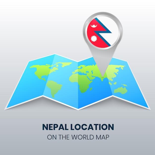 Locatiepictogram van nepal op de wereldkaart, ronde pinpictogram van nepal Premium Vector