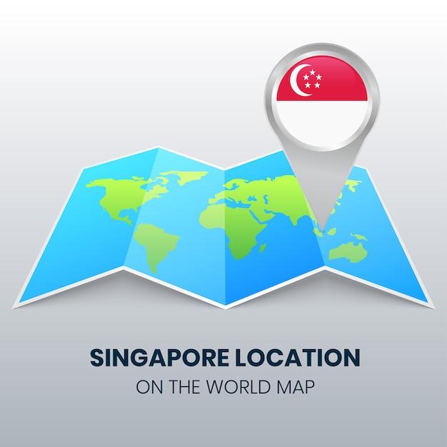 Locatiepictogram van singapore op de wereldkaart, rond pinpictogram van singapore Premium Vector