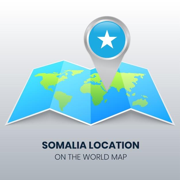 Locatiepictogram van somalië op de wereldkaart, ronde pin-pictogram van somalië Premium Vector