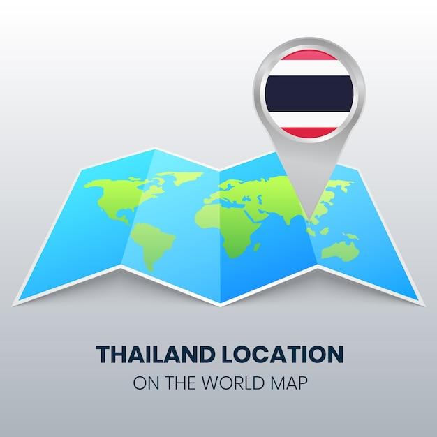 Locatiepictogram van thailand op de wereldkaart, ronde pin-pictogram van thailand Premium Vector