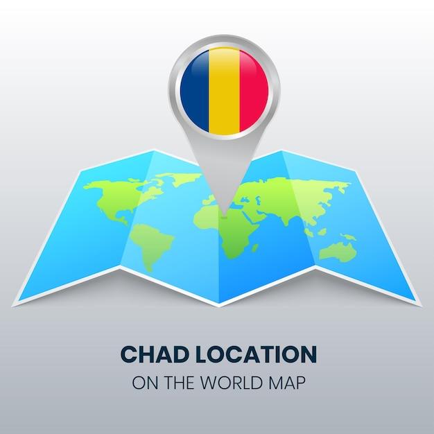 Locatiepictogram van tsjaad op de wereldkaart, ronde speldpictogram van tsjaad Premium Vector