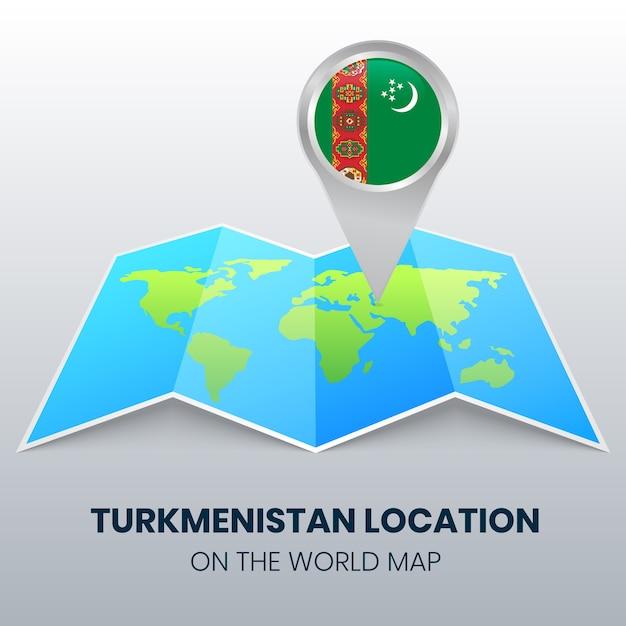 Locatiepictogram van turkmenistan op de wereldkaart, ronde pin-pictogram van turkmenistan Premium Vector
