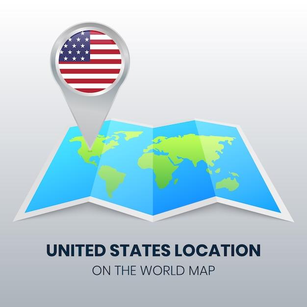 Locatiepictogram van verenigde staten op de wereldkaart Premium Vector