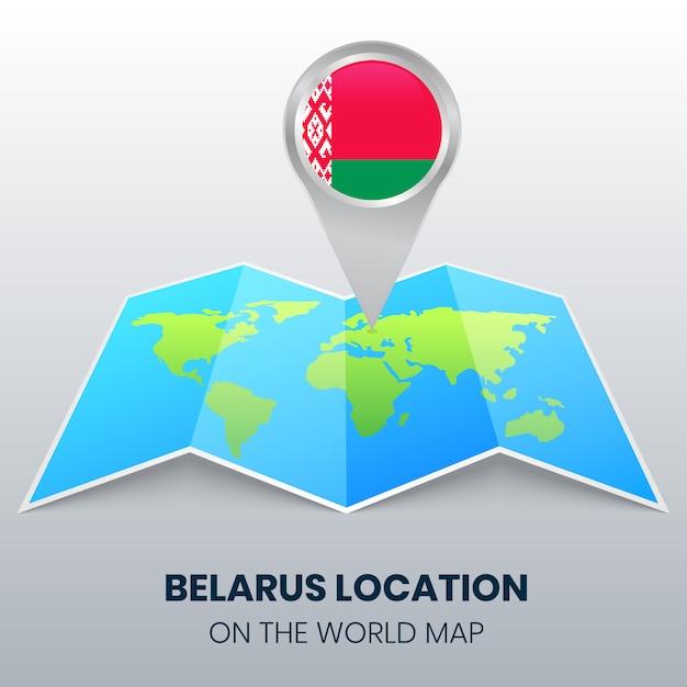 Locatiepictogram van wit-rusland op de wereldkaart Premium Vector