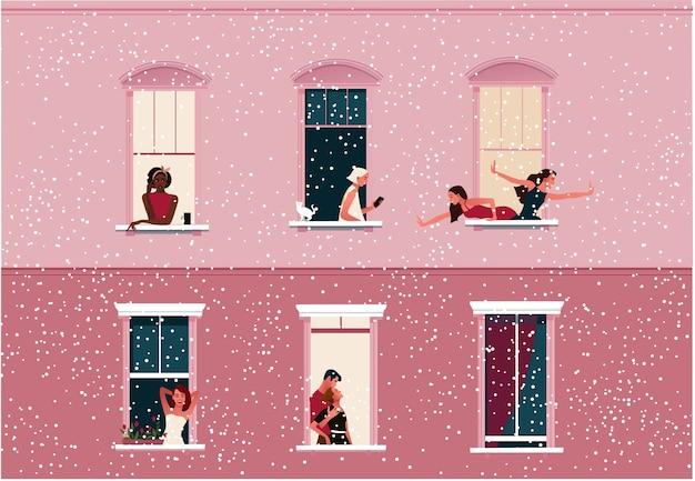 Lockdown. leven in quarantaine plaatsen. raamkozijnen met buren die kerstmis of nieuwjaar vieren. sneeuw. Premium Vector