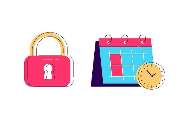 Locker en kalender tijdpictogram, hangslot-symbool. sleutel slot illustratie privacy en wachtwoordpictogram. bedrijfsconcept eenvoudig Premium Vector
