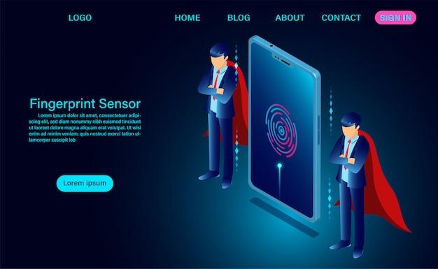Login vingerafdruksensor op websjabloon voor telefoonscherm Premium Vector