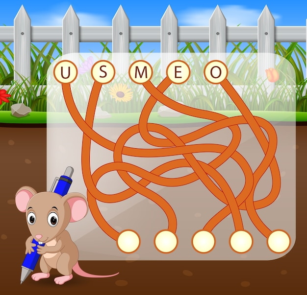 Logisch puzzelspel voor engels studeren met de muis Premium Vector