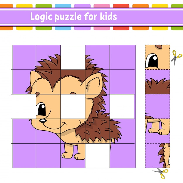 Logische puzzel voor kinderen. onderwijs ontwikkelt werkblad. egel dier. leerspel voor kinderen. Premium Vector