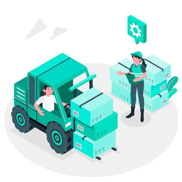 Logistiek concept illustratie Gratis Vector