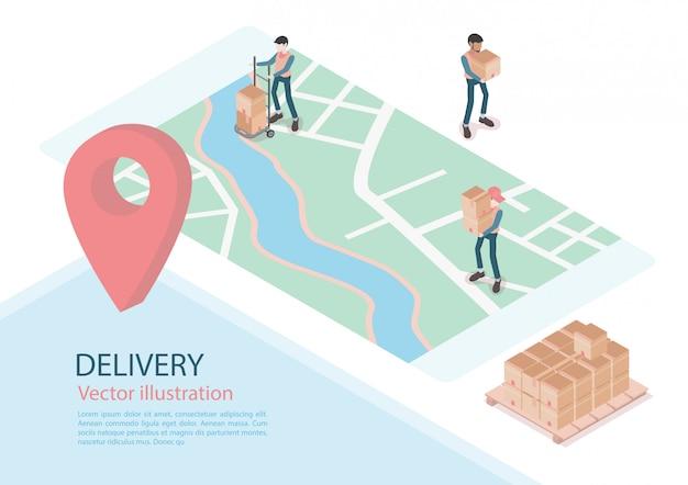 Logistiek en levering infographics. isometrisch, vrachtwagen, drone en bezorger. vector illustratie Premium Vector