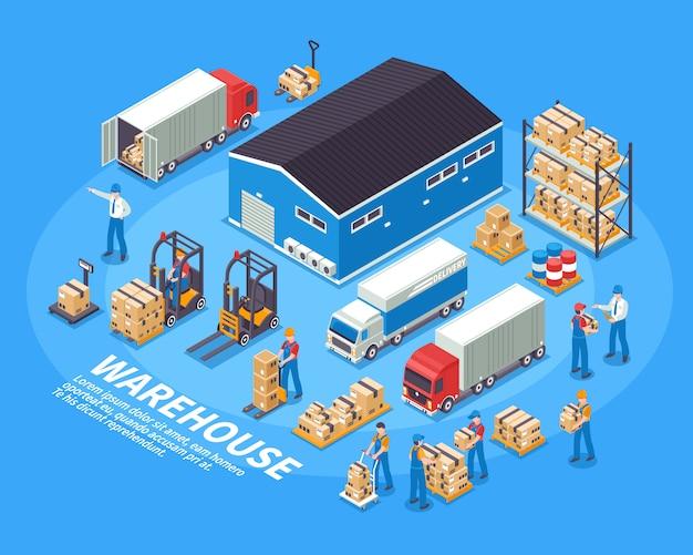 Logistiek en magazijn illustratie Gratis Vector
