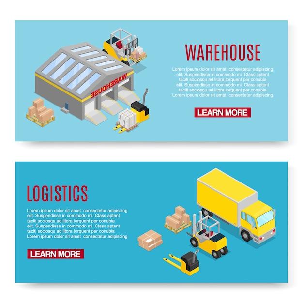 Logistiek en opslag transport banner sjabloon set Premium Vector