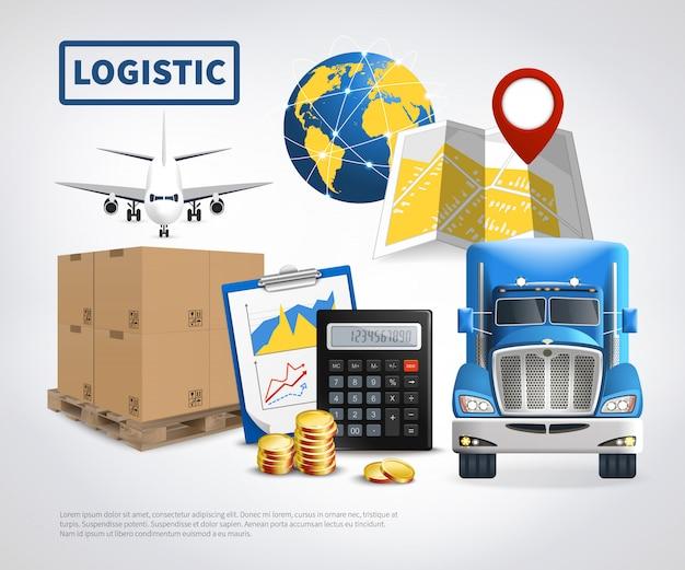 Logistiek gekleurde sjabloon Gratis Vector