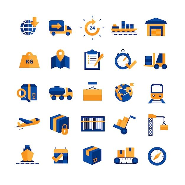 Logistiek icons set Gratis Vector