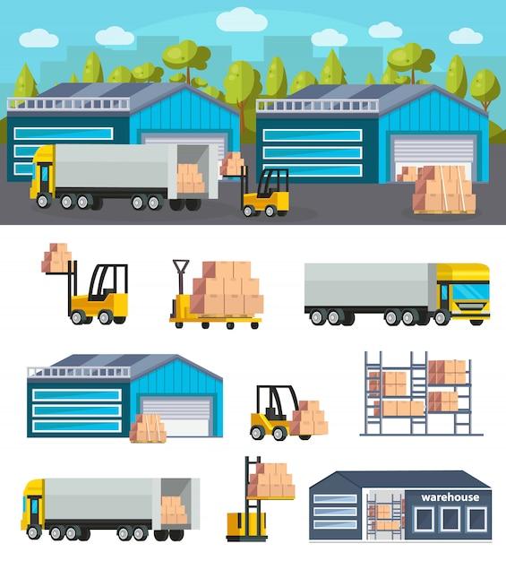 Logistiek magazijnconcept Gratis Vector