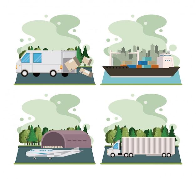 Logistiek vrachtcontainer van vrachtvervoer Gratis Vector