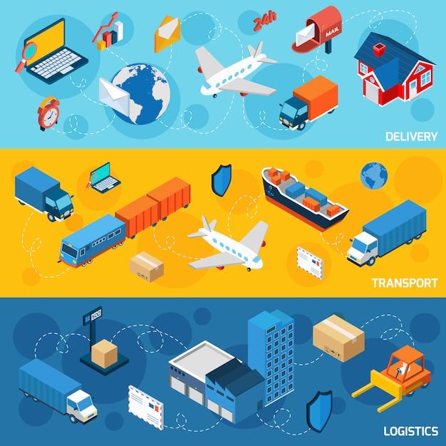 Logistieke bannerset Gratis Vector