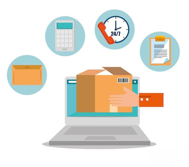 Logistieke diensten met laptop Gratis Vector