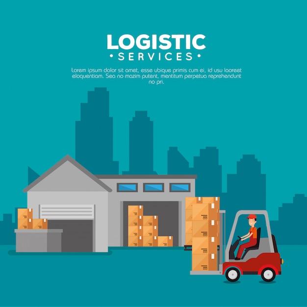 Logistieke diensten met vorkheftruck en werknemer Gratis Vector