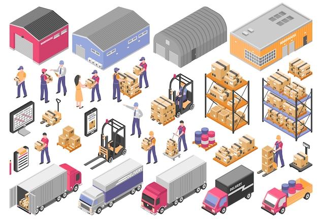 Logistieke elementen instellen Gratis Vector