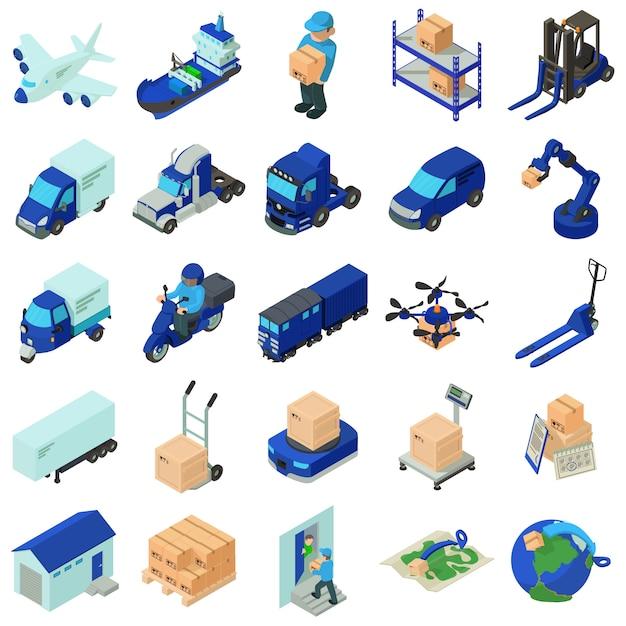 Logistieke en bezorgingspictogrammen instellen. isometrische illustratie van 25 logistieke en levering vector iconen voor web Premium Vector