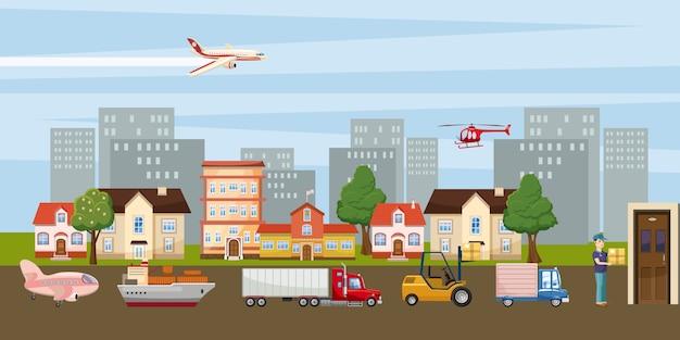 Logistieke horizontale achtergrondstad, beeldverhaalstijl Premium Vector